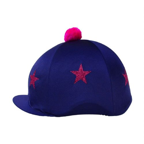 HyFASHION Pom Pom Hat Cover with Glitter Stars in Navy/Pink